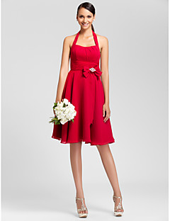 Lanting Bride® Knee-length Chiffon Bridesmaid Dress - A-line / Princess Halter Plus Size / Petite withBow(s) / Draping / Crystal Brooch /