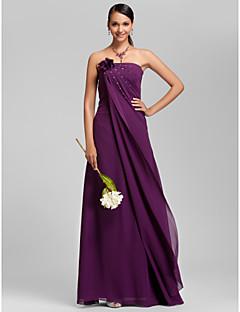 Floor-length Chiffon Bridesmaid Dress - Grape Plus Sizes Sheath/Column Strapless