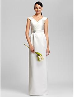 Lanting Bride Gulvlang Satin Brudepigekjole Tube / kolonne V-hals Plusstørrelse / Petite med Perler / Bælte / bånd
