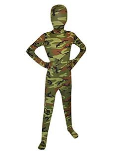 Child Forest Green Camouflage Lycra Full Body Zentai