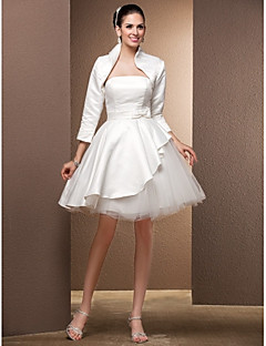 Lanting Ball Gown Plus Sizes Wedding Dress - Ivory Knee-length Strapless Satin/Tulle