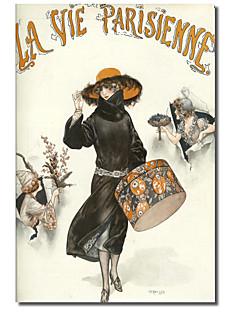 bedrukte canvas kunst vintage lavie parisienne hoedendoos door vintage appel collectie met gestrekte kader