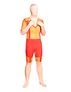 Orange ja Red Esiliina Lycra Full Body Zentai
