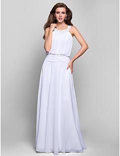 Skoleball / Formell kveld / Militærball Dress - Elegant A-linje Besmykket Gulvlang Chiffon med Appliqué / Perler / Drapering / Ruchiing
