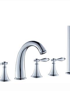 現代風 ローマンバスタブ ワイドspary ハンドシャワーは含まれている with  セラミックバルブ 3つのハンドル5つの穴 for  クロム , 浴槽用水栓
