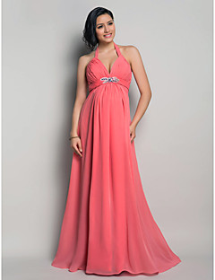 Formal Evening/Wedding Party Dress - Watermelon Maternity Sheath/Column Halter Floor-length Chiffon