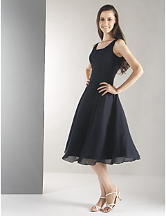 Knee-length Chiffon Bridesmaid Dress-Plus Size / Petite A-line Straps