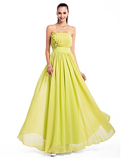 Formal Evening/Prom/Military Ball/Wedding Party Dress - Lime Green Plus Sizes A-line/Princess Strapless Floor-length Chiffon