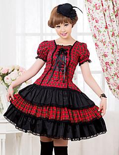 С коротким рукавом длиной до колен красный и черный шаблон проверки Хлопок Punk Лолита платье