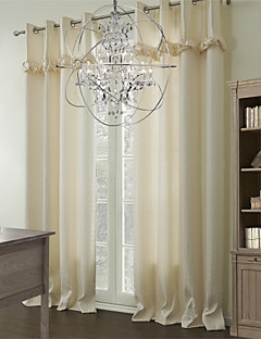 (Two Panels) Modern Geometric Polyester Cotton Blend Energy Saving Curtain