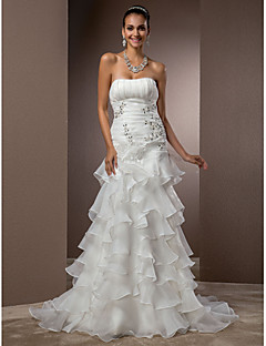 Lanting Bride Fit & Flare Petite / Plus Sizes Wedding Dress-Court Train Strapless Organza