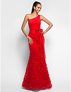 TS Couture® Prom / Formal Evening / Military Ball Dress - Floral Plus Size / Petite Trumpet / Mermaid One Shoulder Floor-length Chiffon / Lace with