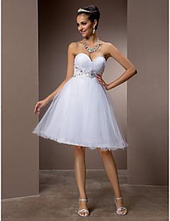 lanting는 몸집이 작은 A 라인 / 공주 신부 / 플러스 웨딩 드레스 무릎 길이 아가 얇은 명주 그물 크기