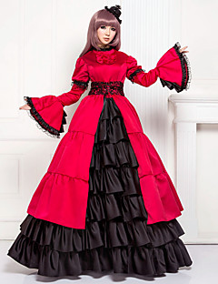 One-Piece/Dress Classic/Traditional Lolita Lolita Cosplay Lolita Dress Patchwork Poet Long Sleeve Long Length Dress For Cotton Satin