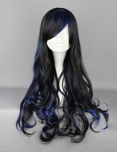 Zipper Black and Blue Blended 70cm Gothic Lolita Curly Wig