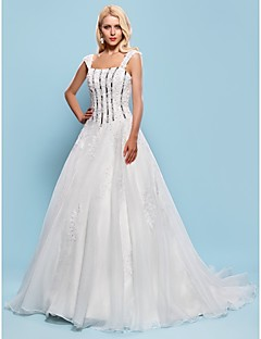 Ball Gown Plus Sizes Wedding Dress - Ivory Court Train Square Organza