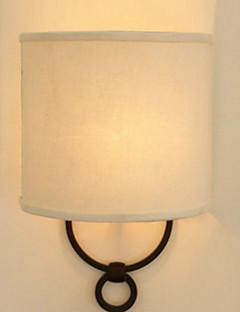 60W Classical Wall Light with Fabric Shade Painted Metal Frame