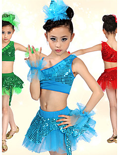Kids' Dancewear Outfits Children's Spandex Sequins Blue / Green / Red Ballet / Performance Spring / Summer Natural