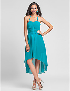 Knee-length / Asymmetrical Chiffon Bridesmaid Dress A-line / Princess Halter Plus Size / Petite with Draping
