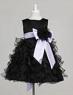 A-line mingea rochie cu printesa genunchi lungime floare fata rochie - tul fără gât bijuterie gât cu arcul