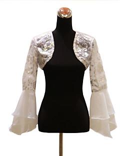 langærmet organza aften / bryllup wrap / aften jakke med pailletter bolero skuldertræk