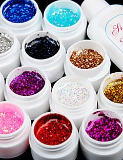 12PCS Glitter UV Color Gel & Fast-drying Cleanser Polish