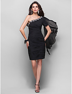 TS Couture® Cocktail Party Dress - Black Plus Sizes / Petite Sheath/Column One Shoulder Knee-length Chiffon