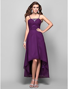 Formal Evening/Prom Dress - Grape Plus Sizes A-line/Princess Spaghetti Straps Asymmetrical/Tea-length Chiffon
