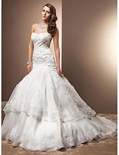 LAN TING BRIDE בתולת ים \ חצוצרה שמלת חתונה - שיק ומודרני אלגנטי ויוקרתי בהשפעת וינטאג' שובל כנסייה (צ'אפל) מחשוף לב תחרה אורגנזה עם