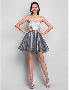 Ligne-A/Princesse Sans bretelles Mini / court satin robe de cocktail / bal
