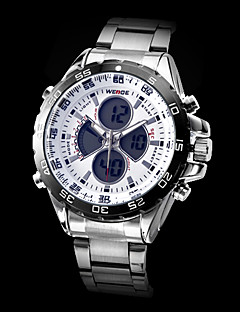 WEIDE Masculino Relógio de Pulso Quartzo Quartzo Japonês LCD Calendário Cronógrafo Impermeável Dois Fusos Horários alarme Aço Inoxidável
