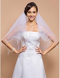רעלה חתונת האצבע שתיים Tier-עם EDGE ופנינים וחרוזי פאייטים