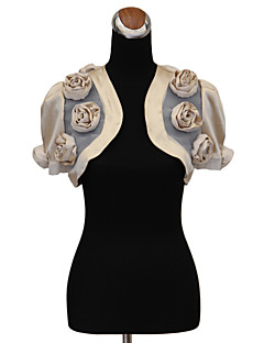 Wedding  Wraps Shrugs Short Sleeve Satin Wedding / Party/Evening Puff Balloon Flower(s) Open Front