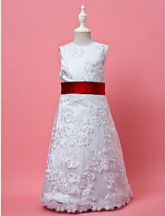 A-line / Princess Knee-length Flower Girl Dress - Lace / Satin Sleeveless Jewel with Lace / Sash / Ribbon