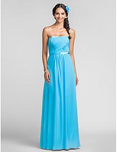 Brautjungfernkleid - Blau Chiffon - Etui-Linie - bodenlang - trägerloser Ausschnitt Übergröße