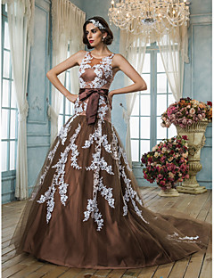 Trumpet/Mermaid Plus Sizes Wedding Dress - Chocolate (color may vary by monitor) Court Train Jewel Tulle