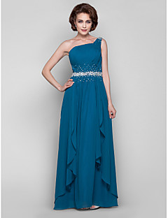 A-line Plus Size / Petite Mother of the Bride Dress Floor-length Sleeveless Chiffon with Beading / Draping / Side Draping