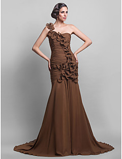 Formal Evening Dress - Brown Plus Sizes Trumpet/Mermaid One Shoulder Sweep/Brush Train Chiffon