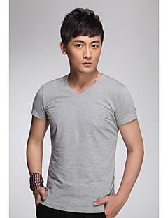 KUILANG Männer beiläufige klassische Baumwolle mit V-Ausschnitt Kurzarm-T-Shirt