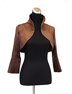 Nice Long Sleeve Standing Collar Stretch Satin Evening/Casual Wrap/Evening Jacket(More Colors) Bolero Shrug