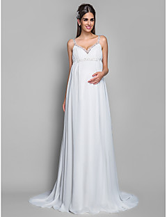 Lanting Bride® Sheath / Column Maternity Wedding Dress - Classic & Timeless Sweep / Brush Train Spaghetti Straps Chiffon with