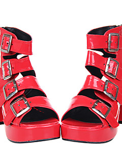 Artesanais de couro vermelho 7,5 centímetros de salto Punk Lolita Sandálias com fivelas