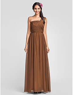 Dress - Brown Plus Sizes / Petite Sheath/Column One Shoulder Floor-length Chiffon