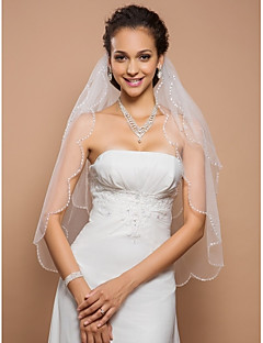 Wedding Veil Two-tier Fingertip Veils Scalloped Edge 23.62 in (60cm) Tulle IvoryA-line, Ball Gown, Princess, Sheath/ Column, Trumpet/