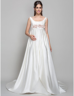 Lan Ting A-line Maternity Wedding Dress - Ivory Court Train Square Satin