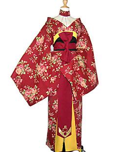 Kostiumy Cosplay / Kostium imprezowy Cosplay Festiwal/Święto Kostiumy na Halloween Czerwony Kwiaty Pas / Płaszcz kimonoHalloween / Boże