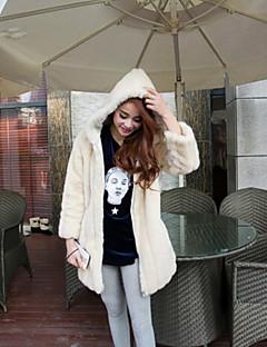 두꺼운 긴 소매 두건이있는 목걸이 가짜 모피 파티 / 캐주얼 코트 (색상 선택)