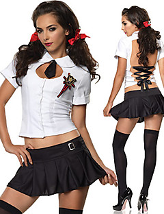Wild Girl Black and White Polyester Backless Suit School Uniform