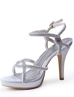 Bon goût Satin Peep Toe Pompes à talon avec strass chaussures de mariage