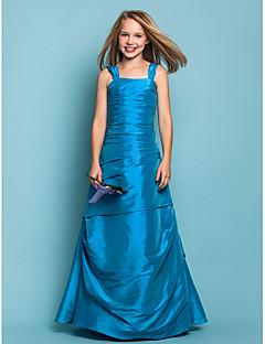 Abiti da damigella bambina - Blu oceano Trapezio/Stile Principessa Bretelle A Terra Taffeta